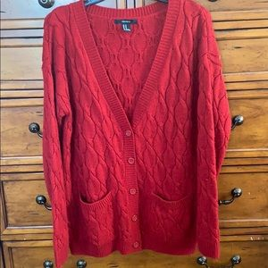 Red cable knit cardigan sweater